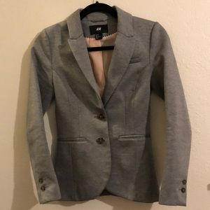 Gray H&M fitted blazer w/ light pink lining
